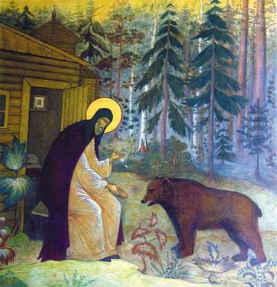 Сохранилось свидетельство о дружбе святого в то время с медведем.