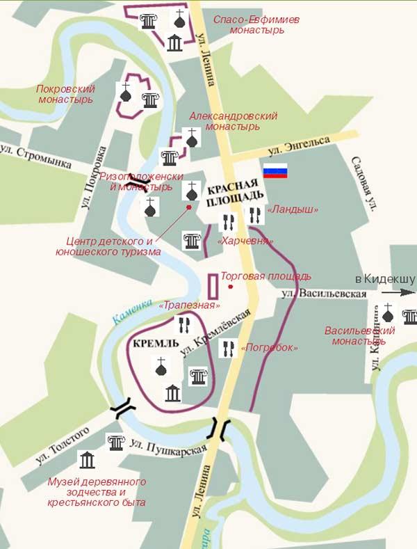 Суздаль - схема города.